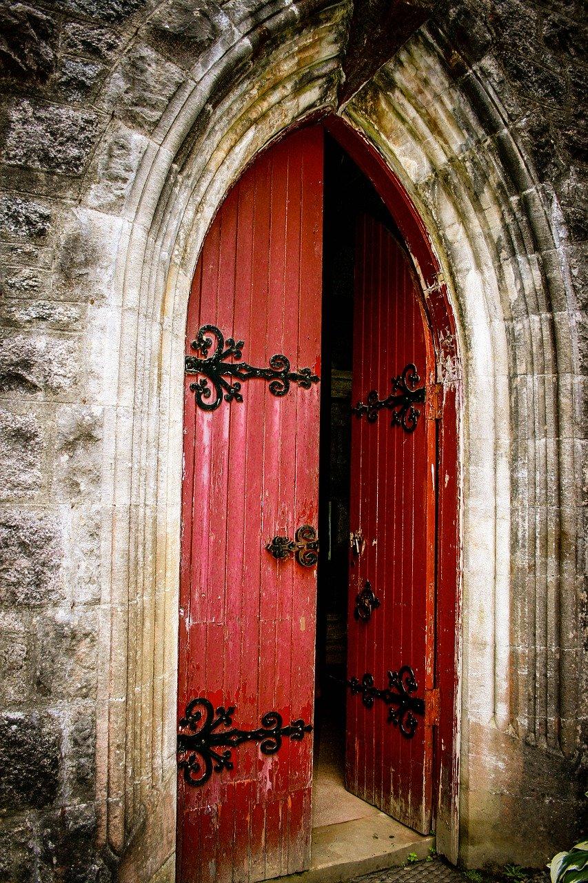 church, door, red door